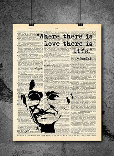 Gandhi - Where There Is Love There Is Life - Dictionary Art Print - Vintage Dictionary Print 8x10 inch Home Vintage Art Wall Art for Home Wall For Living Room Bedroom Office Ready-to-Frame