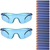 YoGou 2 Stück Schutz Gläser Schutzbrille Brillen Blau + 20 Darts Blau für Nerf Gun N-Strike Elite Series