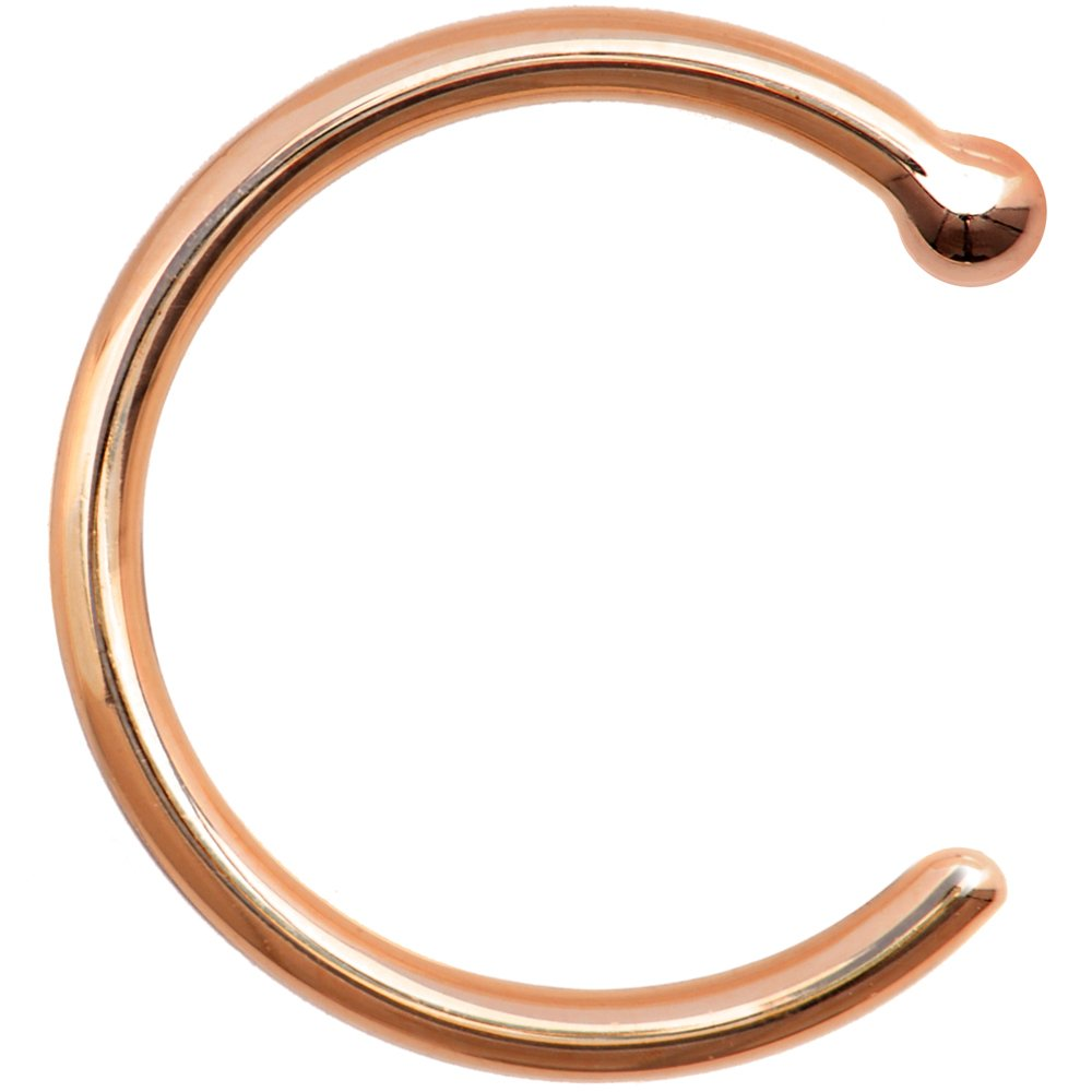 Body Candy Solid 14k Rose Gold Nose Hoop 18 Gauge 5/16''