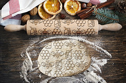 Bee pattern, engraved rolling pin, for cakes and cookies, kitchen tool, original shape
