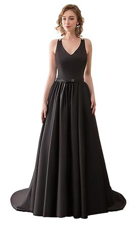 ONLYCE Womens A Line V Neck Criss-Cross Back Satin Prom Dress Long Formal Evening