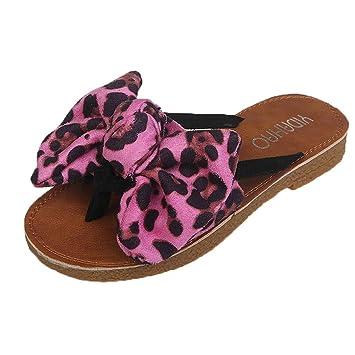 9ac8fe7b8b012 Amazon.com: Yucode Summer Fashion Bow Leopard Print Beach Flip Flops ...