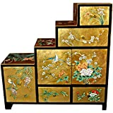 Oriental Furniture Gold Leaf Step Tansu