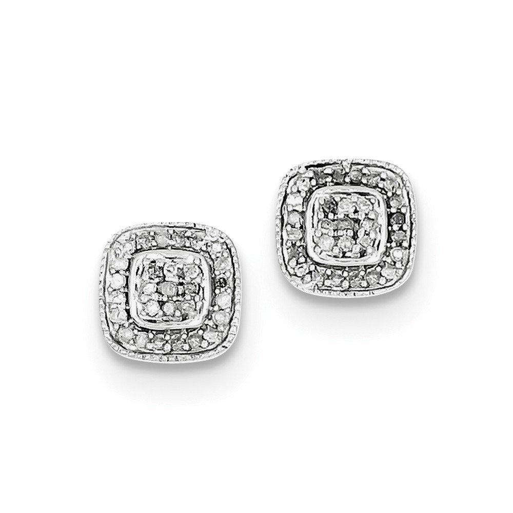 Sterling Silver Rhodium Diamond Post Earrings
