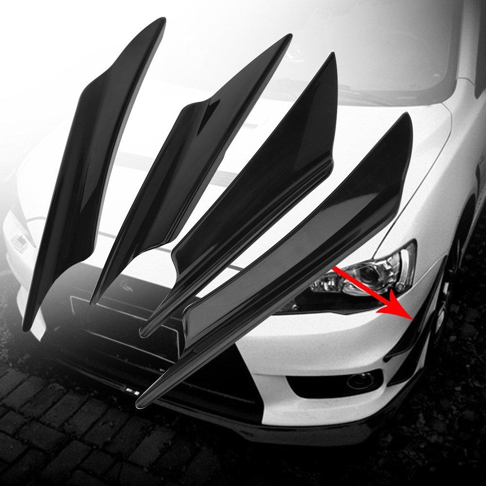 4Pcs Universal ABS Car Body Spoiler Front Bumper Lip Splitter Fins Trim black Suuonee Front Bumper Spoilers