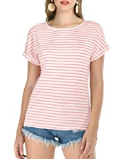 Haola Women's Striped Tops Summer Casual Round Neck Short Sleeve Blouse T-Shirt (S-3XL)