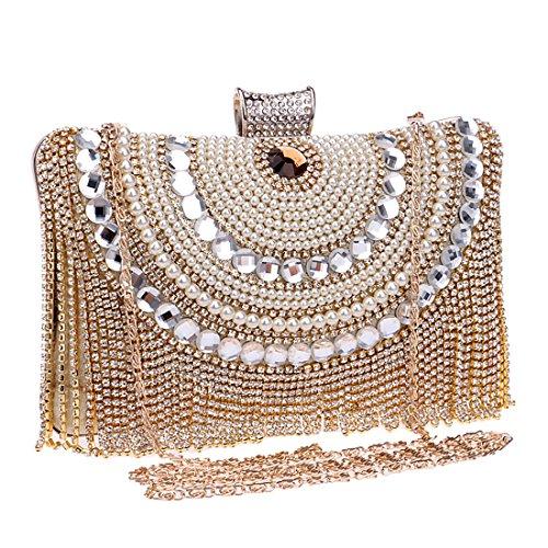 YYW Rhinestone Bag Bag - Cartera de mano para mujer dorado