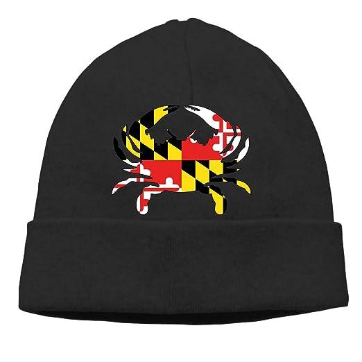 644e2fd1aa621 Eleanore Charles Maryland Flag Crab Beanie Cap Winter Warm Knit Skull Hat  for Men Women Black