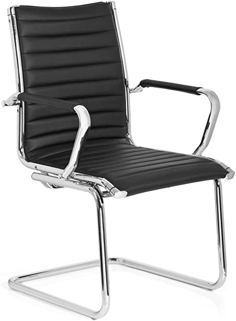 hjh OFFICE 660942 Besucherstuhl Freischwinger VEMONA V Kunstleder SchwarzChrom Büro Konferenzstuhl Stuhl mit Armlehnen