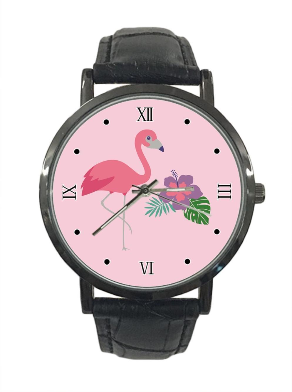 jkfgweeryhrt New Simple Fashion Flamingo Stainless Steel Leather Analog Quartz Sport Wrist Watch