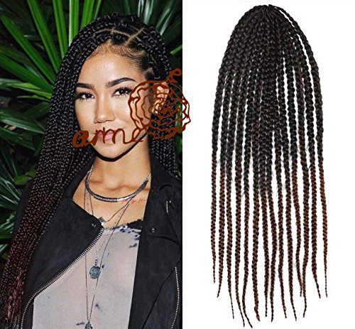 Amazoncom Black To Auburn Two Colors Ombre Box Braids Hair