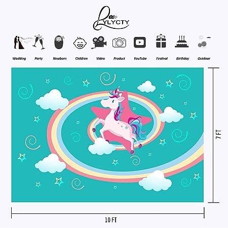 lylycty 10 x 7ft telón de fondo Cartoon unicornio FLYING Unicorn colorido arco iris Color blanco nubes fotografía fondo fiesta de cumpleaños fotografía ...