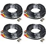 ABLEGRID® 4 PACK 100ft bnc video power cable security camera wire cord for cctv dvr surveillance system (included 2x BNC to RCA connectors with each cable)