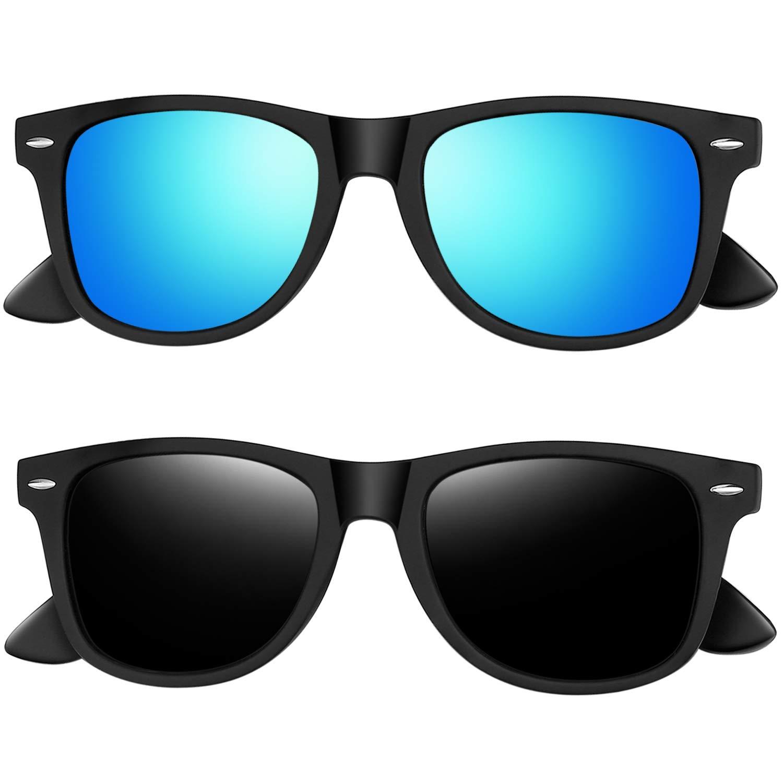 Joopin Polarized Sunglasses for Women - 2 Pack Retro Brand Designer Mens Sunglasses (Black+Blue) by Joopin