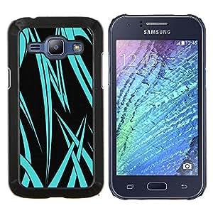 EJOOY---Cubierta de la caja de protección para la piel dura ** Samsung Galaxy J1 J100 ** --Neon Blue Tribal