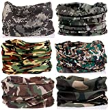 Cloth Face Mask Kalily Pack of 6PCS Outdoor Scarf for ATV/UTV riding, Headband Bandana - Versatile 12-in-1 Lightweight Sports & Casual Headwear - Neck Gaiter, Balaclava, Helmet Liner, Face Mask (Camo)