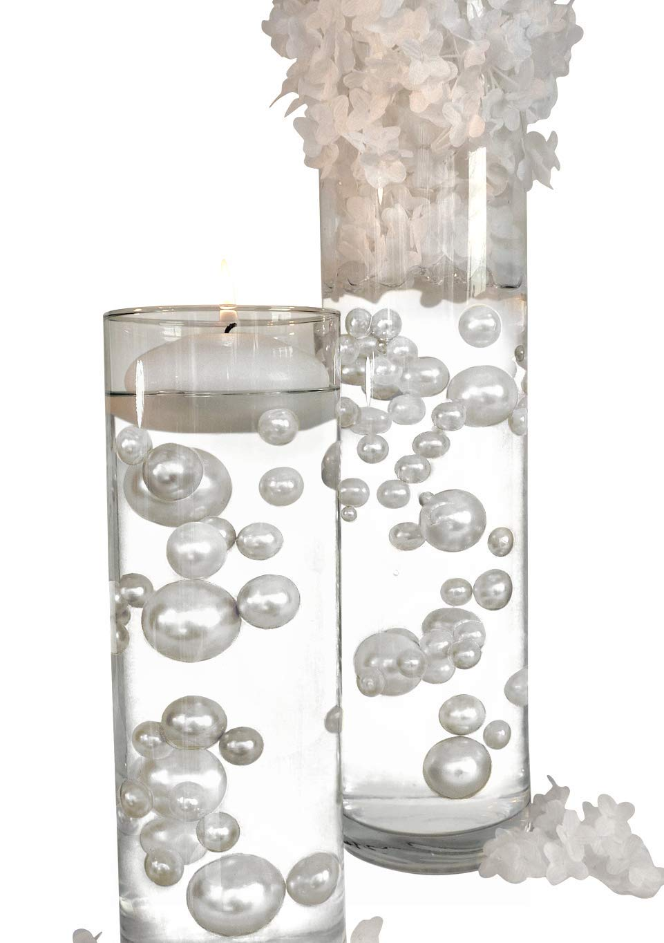 4 Packs Sale Floating No Hole White Pearls - Jumbo/Assorted Sizes Vase Decorations + Includes Transparent Water Gels for Floating The Pearls by Vase Pearlfection