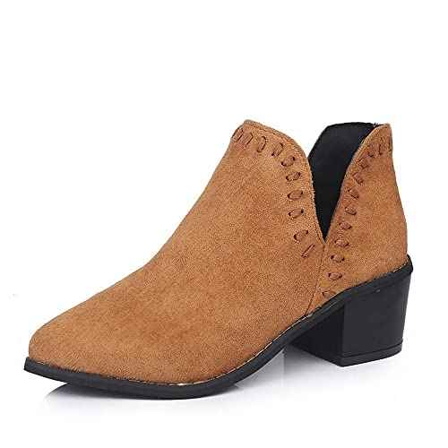 Womens Ankle Booties Chunky Low Heel Cut Out Pointed Toe Side Zipper Western Boots by Nevera