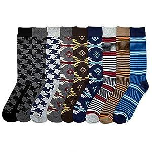 I&S Men's 12 Pack Modern Dress Crew Socks - Size 10~13
