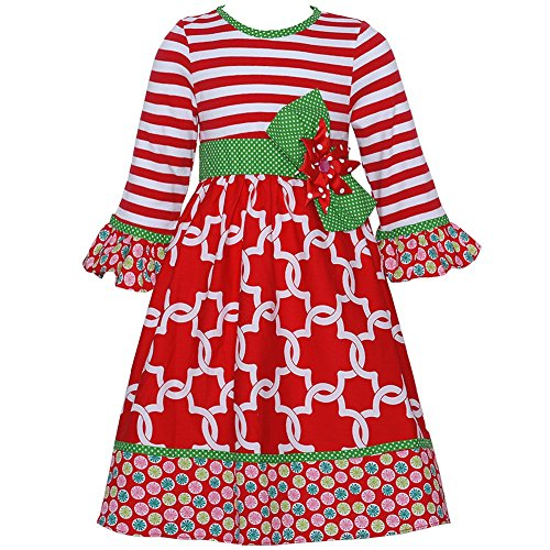 Rare Editions Counting Daisies Red / Green Holiday Dress (2t-6x) (Rare Editions Holiday Dress)