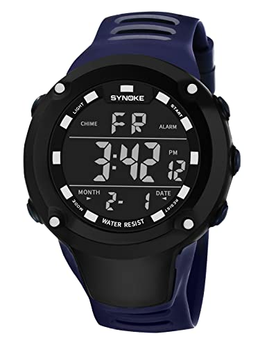 SYNOKE - Reloj de Pulsera Digital Electrónico Hombre Impermeable Multifusiones Deportivo Redondo con Alarma Cronómetro Luz de Fondo Colorido - Azul: ...