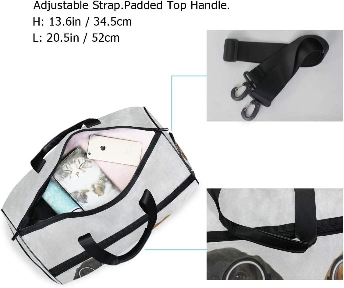 Couple Of Silly Dachshund Puppy Dog Sports Gym Bag with Shoes Compartment Travel Duffel Bag for Men Women