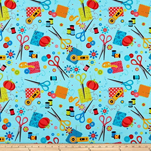 Kanvas Sew Excited, Sewing Notions Turquoise Fabric by the Yard
