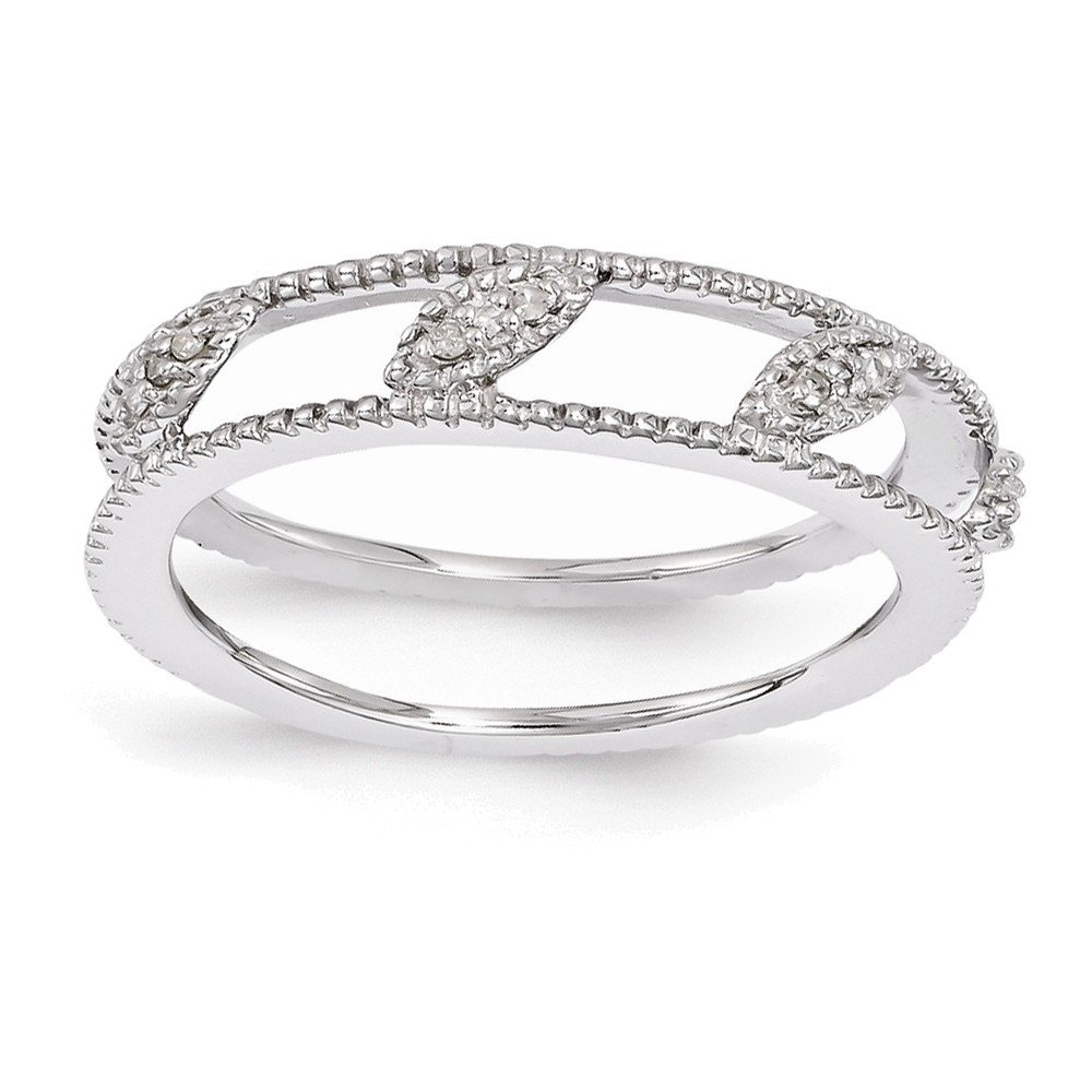Sterling Silver Stackable Expressions Rhodium-plated Diamond Jacket Ring Size 7
