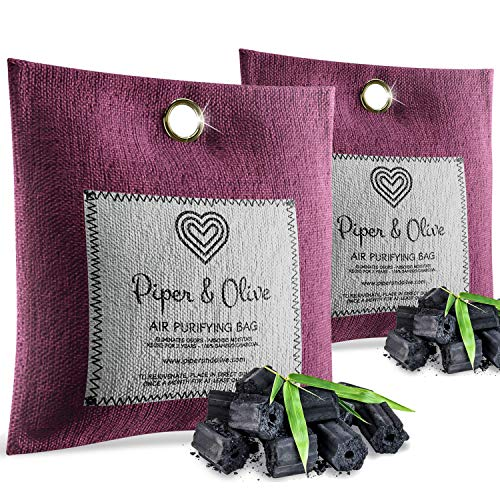 Piper Air - Piper and Olive 2-Pack Bamboo Activated Charcoal Air Freshener, Deodorizer, 250g Purifier Bags - 100% Natural, Chemical Free, Moisture Absorber, Odor Eliminator and Neutralizer, for Home, Shoes, Car
