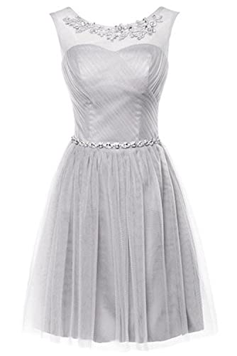 CoutureBridal Sexy A Line Crystal Knee Length Cocktail Party Prom Dresses Short Evening Gowns For Gi...