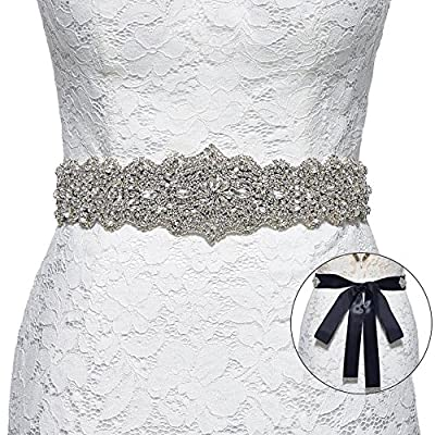 Sisjuly Women's Crystal Sash Rhinestone Wedding Belt for Prom Party Evening Dresses