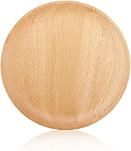 YFWOOD Wood Dinner Plates 7.95'' Round Wooden Serving Trays Classic Charger Plates for Snack Dessert Steak Fruit Salad Platter Vegetable Food Dish