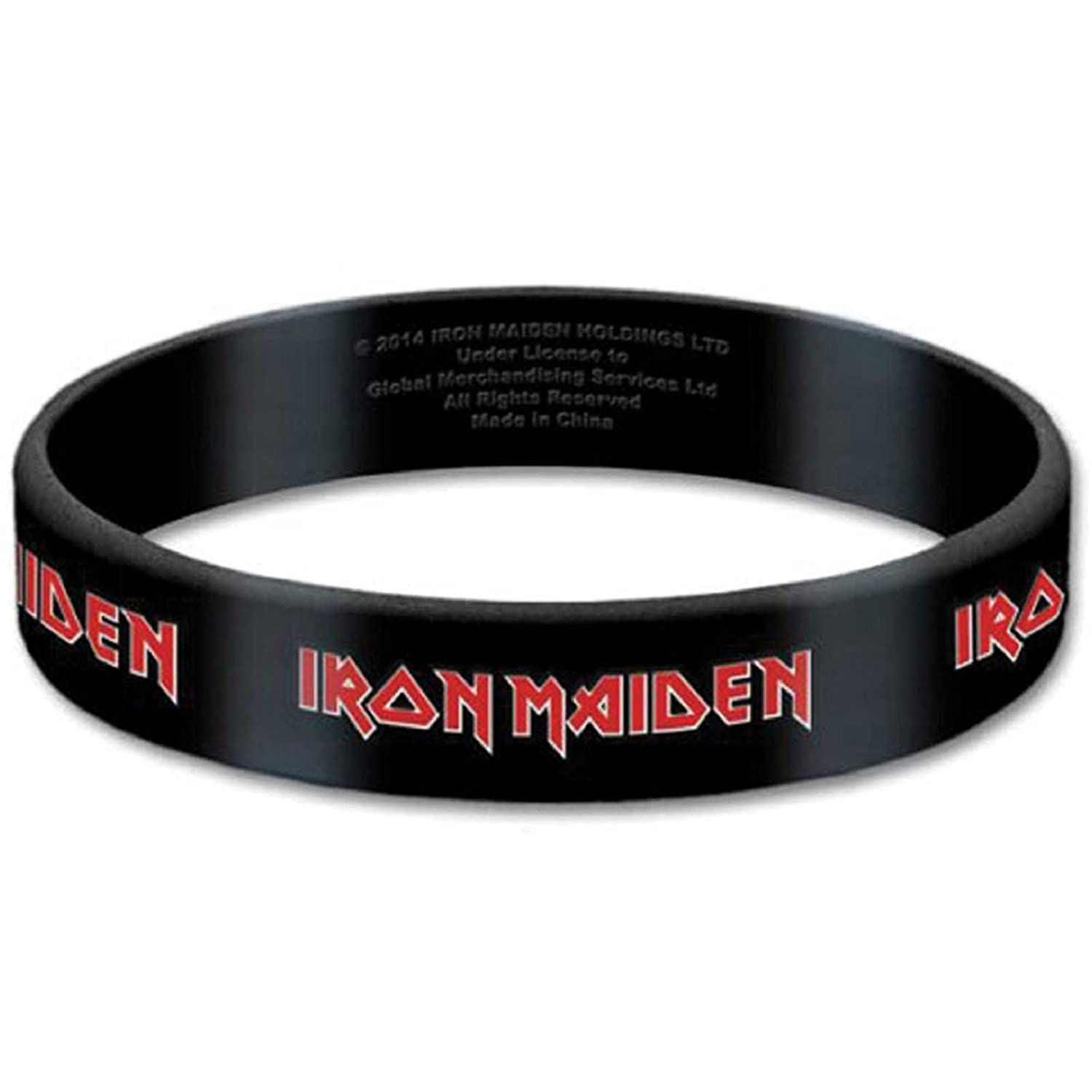 Iron Maiden Wristband Classic band Logo Official New Black 10 mm rubber