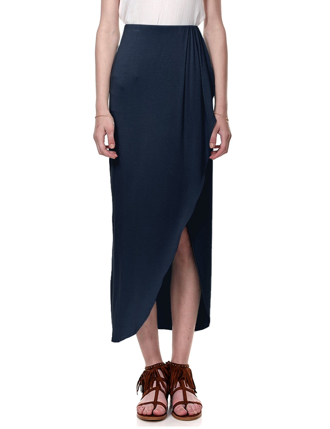 Regna X BOHO for womans stretch high banding blouses big maxi long floor length skirts, XX-Large Plus, Navy