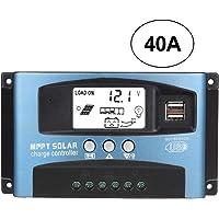 Controlador de placa de carga, MPPT 40/50/60/100A Controlador de carga solar Pantalla LCD USB dual 12V 24V(40A)