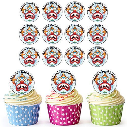 AKGifts 24 PRE-CUT Circles Halloween Clown Edible Cupcake Toppers / Halloween Cake Decorations - Easy Precut Circles (7 - 10 BUSINESS DAYS DELIVERY FROM (Sale Halloween Decorations Uk)