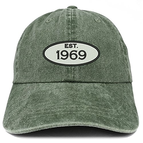 Trendy Apparel Shop Established 1969 Embroidered 50th Birthday Gift Pigment Dyed Washed Cotton Cap - Dark Green ()