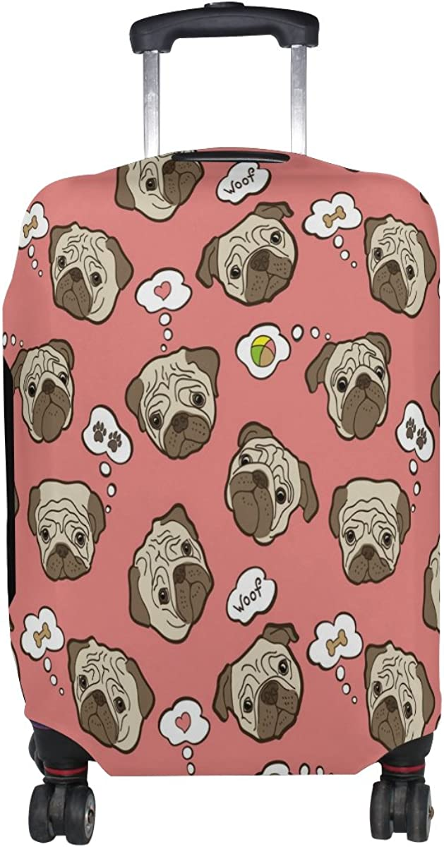 ALAZA Pug Dog Paw Print Travel Luggage Cover Suitcase Cover Case