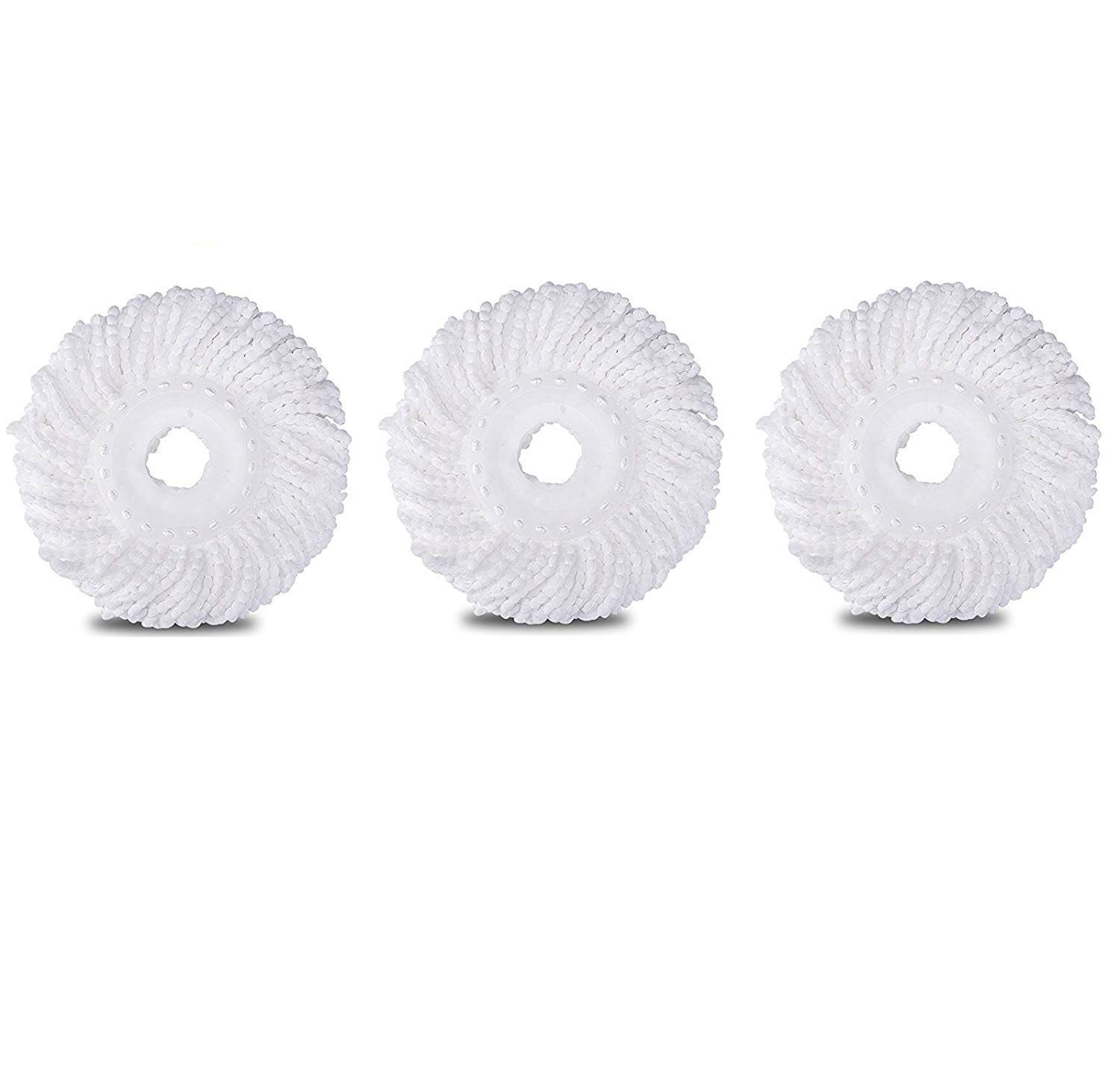 3 Pack Spin Mop Replacement Head, Round Shape Standard Size Microfiber Mop Head Refills for Hurricane Mopnado EGOFLEX Hapinnex Casabella and Other Brand Spin Mop Systems
