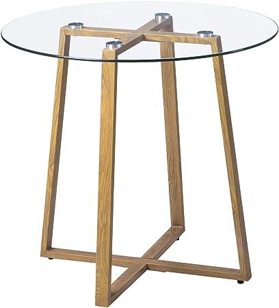 Imagen deH.J WeDoo Mesa de Comedor Redonda Mesa de Cristal Estilo Escandinavo Patas de Metal Imitación Madera Templado Cristal 80 * 75 cm