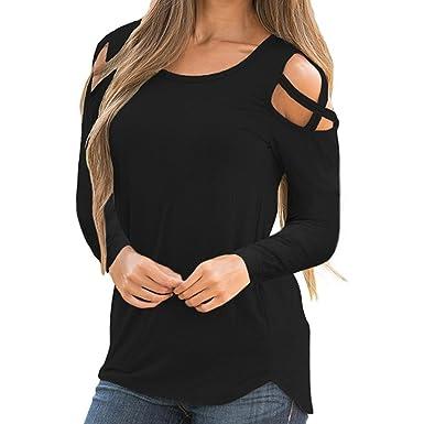 13216104babb HGWXX7 Women Tops Long Sleeve Off Shoulder Solid Cross Bandage Blouses T- Shirt(S