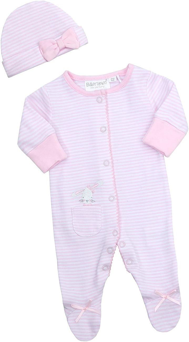 2 Piece Babygrow BABY TOWN Baby Girls Bunny Sleepsuit Set Cradle Cap Bundle