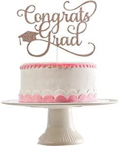 Rose Gold Glittery Congrats Grad Cake Topper- 2020 Graduation Party Decorations,High School Graduations,Grad Party Decor,College Graduate Cake Topper Decor
