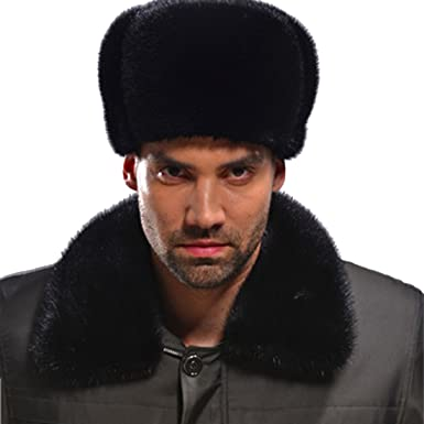 Men Ushanka Russian Cossack Trapper Hats real whole Fur Lamb Leather Winter mink