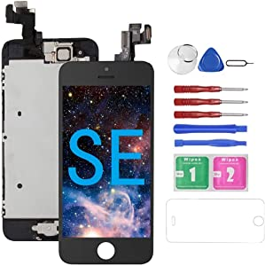 for iPhone SE Screen Replacement with Camera Black for A1662,A1723,A1724, Mobkitfp Compatible with iPhone 5SE Screen Replacement Digitizer LCD Touch Screen Display, Full Assembly with Repair Tools
