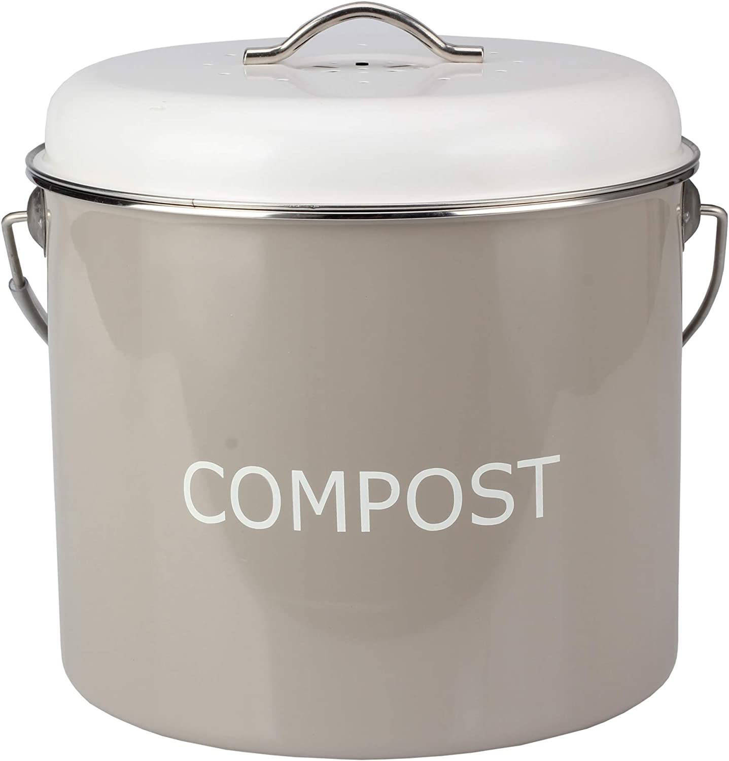 COMPOST BIN COUNTERTOP – 0.8 gallon/3 liter- Compost Bucket for Kitchen with Lid and 4 Charcoal filters in Vintage Look by HeAndy