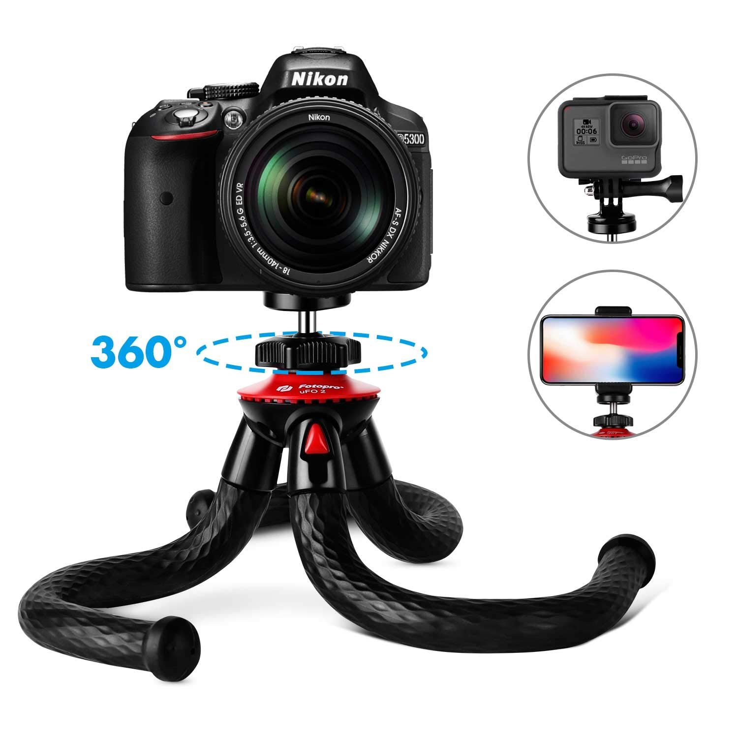 Tripods for Phone, Fotopro 12'' Flexible Tripod with Bluetooth for iPhone X 8 Plus,Samsung S9,Waterproof and Anti-Crack Camera Tripod for GoPro,360 Degree Spherical Camera for Time-Lapse Photography by Fotopro