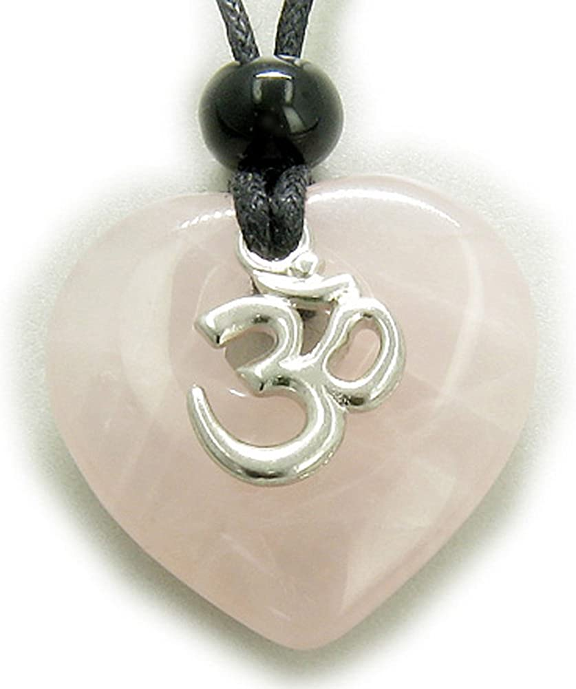 BestAmulets Magic Heart Om Rose Quartz Love Talisman Pendant Necklace