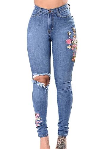 YACUN Les Jeans Skinny Pantalon Taille Haute, Jean Brodé  Amazon.fr   Vêtements et accessoires e13ec2219378