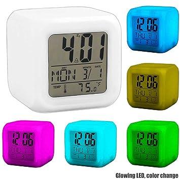 Ociodual Reloj Despertador Cubo de Colores Digital Termómetro Fecha Alarma Digital Blanco: Amazon.es: Electrónica